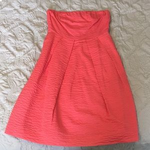 Coral, quilted pattern J. Crew dress